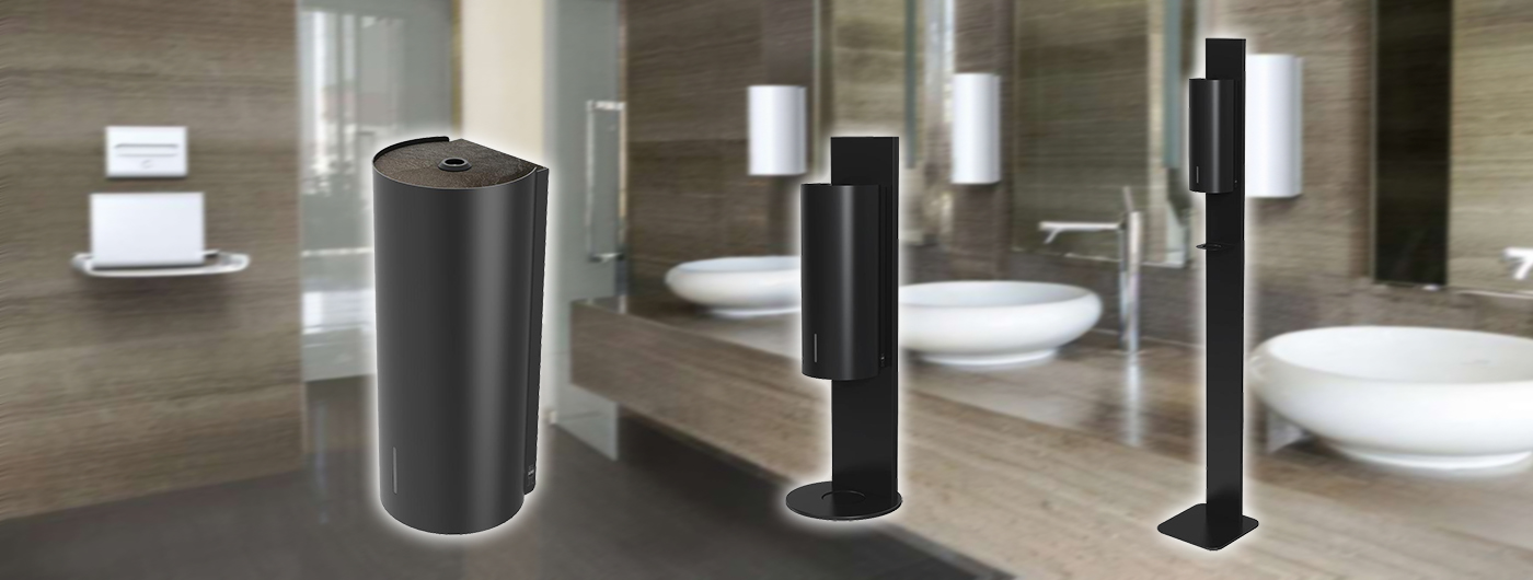 Designové dávkovače dezinfekce a mýdla